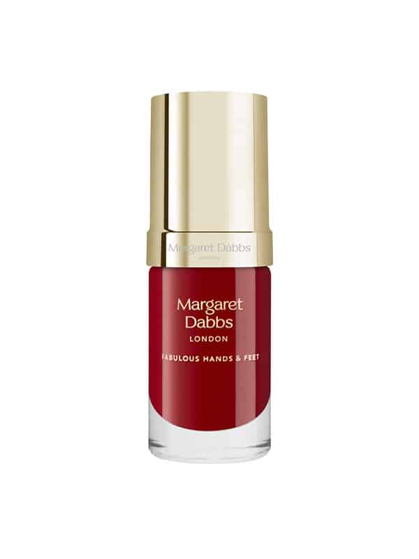 A vivid red vitamin-E enriched luxury nail polish from Margaret Dabbs London