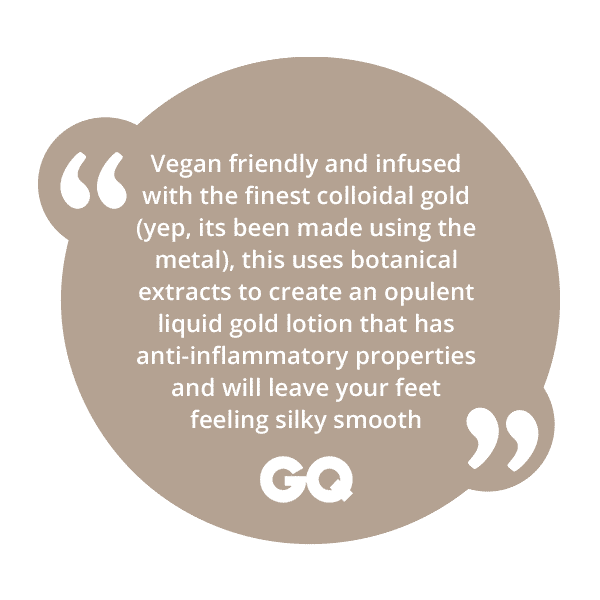 A positive review from GQ focusing on the quality and luxury vegan formula of the Margaret Dabbs London Pure Gold Elixir product